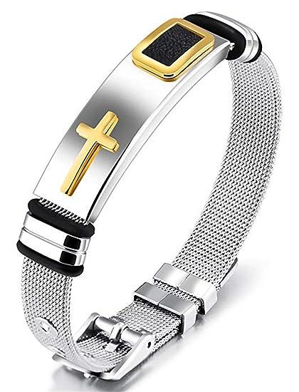 Amazon Com Jzone Stainless Steel Religious Cross Bracelet For Mens