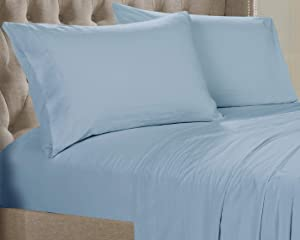 Posh Home Solid Sheet Set - Double Brushed 4 Piece Ultra Soft Sheet Set Wrinkle & Fade Resistant (Full, Steel Blue - Solid)