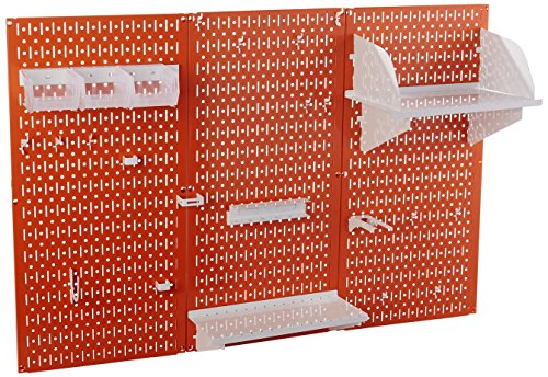 Wall Control 30-WRK-400 ORW Pegboard Organizer 4' Metal Standard Tool Storage Kit with Orange Tool Board and White - The Orw