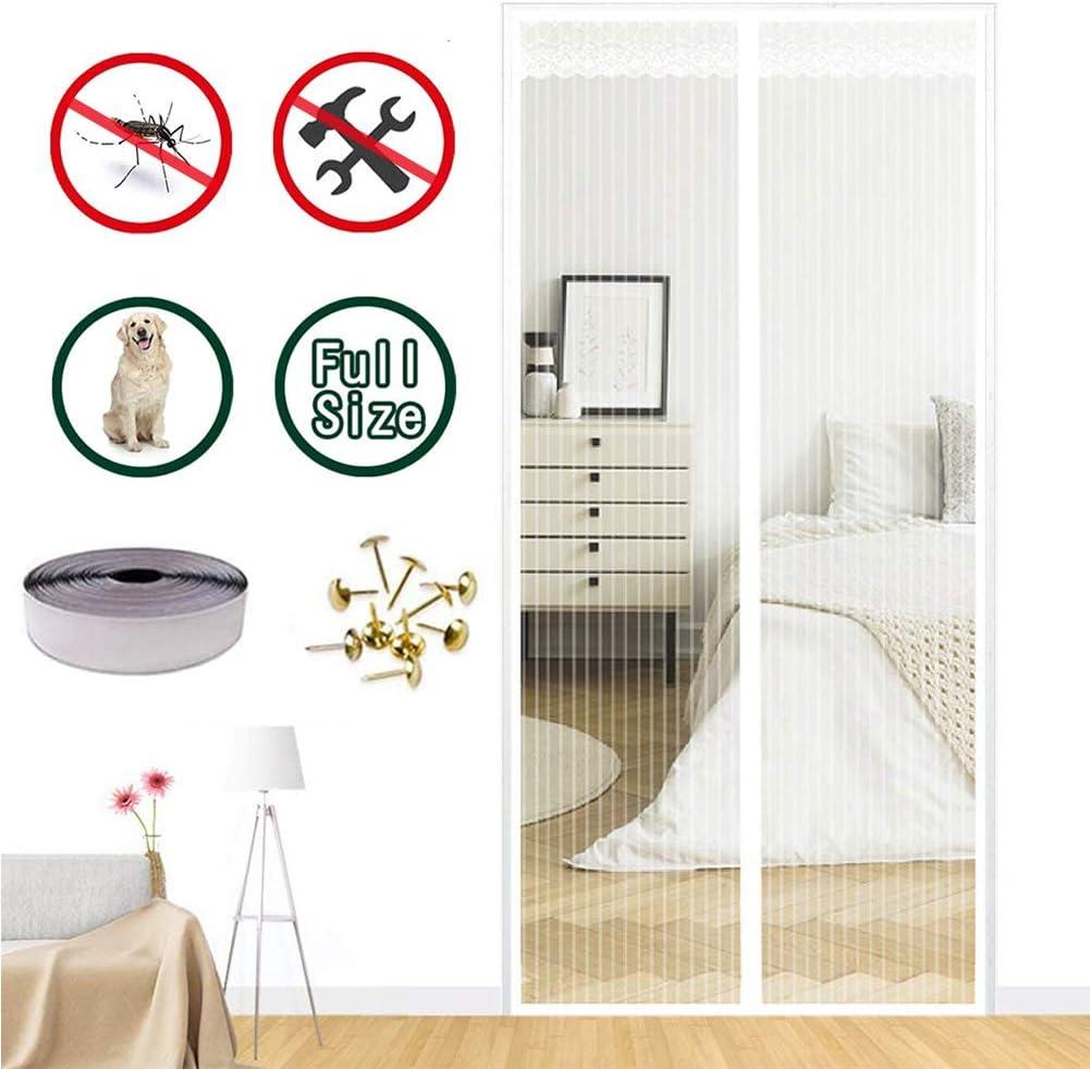 MENGH Mosquitera Puertas corredera 200x180 CM Mosquitera Magnética para Puertas Cerrado automáticamente Plegable Protección contra Insectos Bueno para Niños y Perros