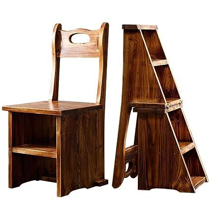 Amazon.com: YIZI HAIPENG Ladder Chair Stool Wooden Shelf Seats ...