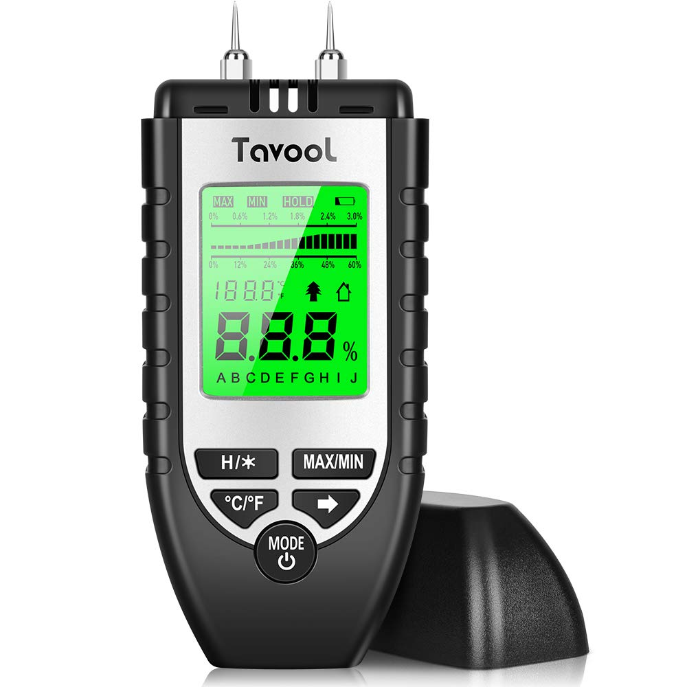 Wood Moisture Meter - Digital Moisture Detector Moisture Tester, Pin-Type Water Leak Detector Damp Tester Dampness Meter for Wood Building Material Firewood Walls Paper Floor (Black) by Tavool