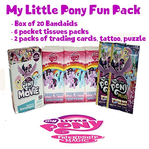 My Little Pony 4pcs Friendship Magic Bundle - 6 Pack Tissues, 20 ct Bandages, 2 pk Trading Cards Tattoo & -