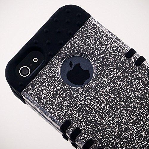Transparent Clear Glitter Rocker Snap-on on Black Rocker Skin KoolKase Rocker 2 in 1 Hybrid Case Cover For Apple iPhone 5s, Apple iPhone 5 New in Retail Package
