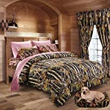 20 Lakes Girls Black & Pink Hunter Camo Comforter, Sheet, Pillowcase Set (Cal King, Black/Pink)