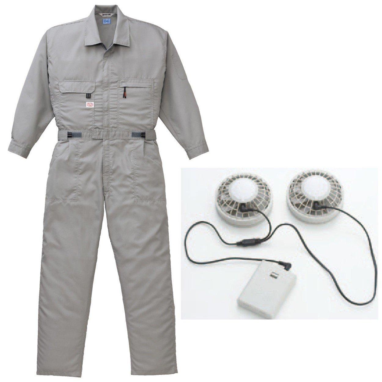 空調服 【空調つなぎ+(ファン+電池ボックス)92601】ab-9820-k B00JPBFA1O 4L|グレー グレー 4L