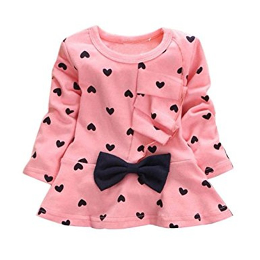 pu ran 0-24 Months Infant Baby Girls Heart Printed Cute Bowknot T-Shirt Tops Blouses