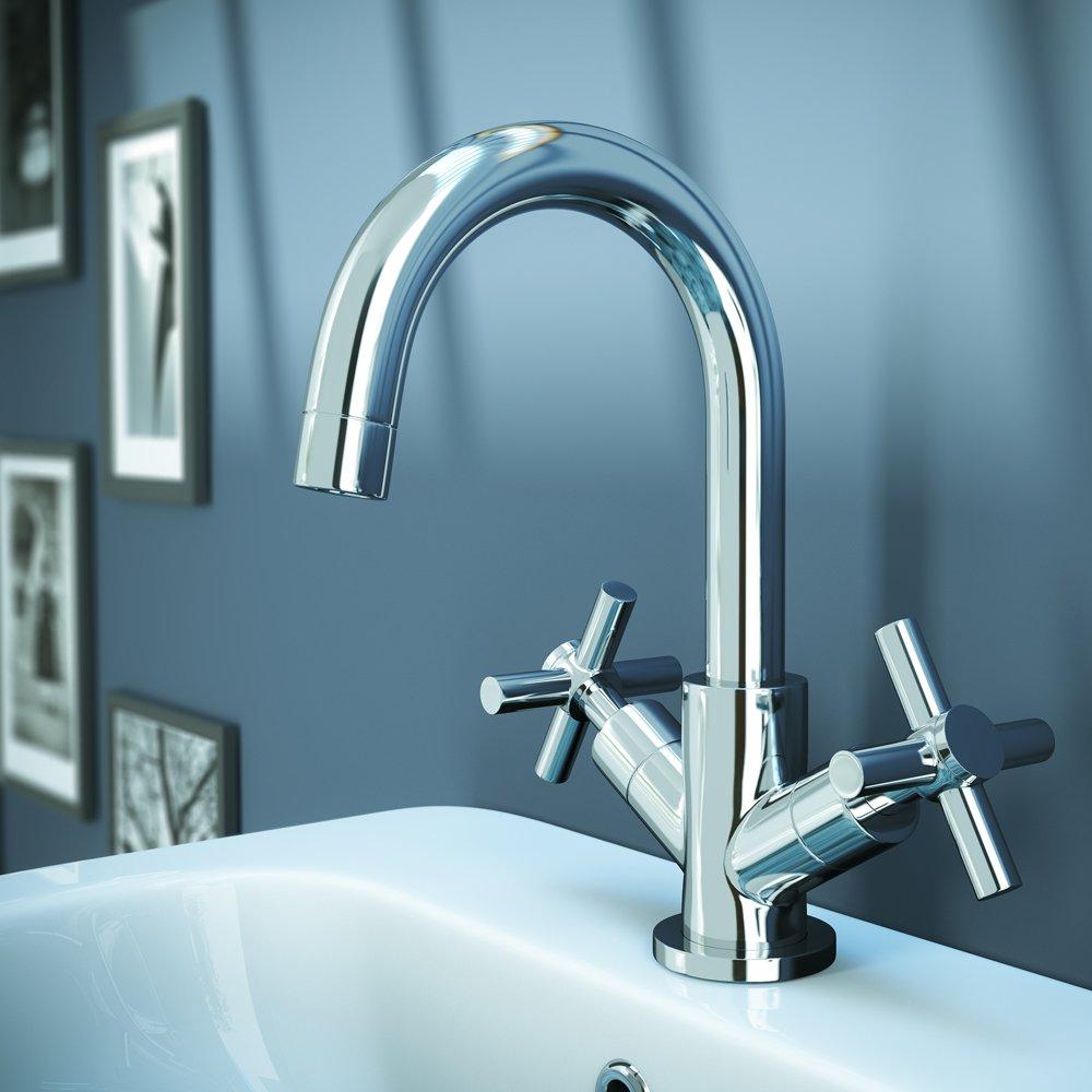 Bathroom Modern Chrome Mono Basin Mixer Tap Swivel Spout with Pop-up ...