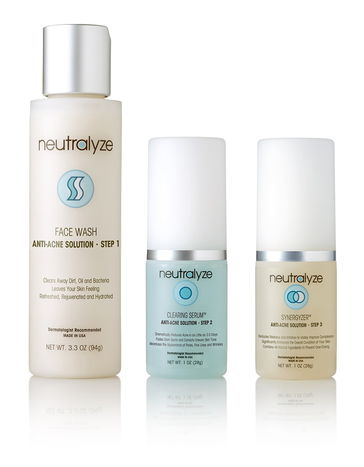 Neutralyze Moderate To Severe Acne Treatment Kit - Maximum Strength 3-Step Anti Acne Medication Includes Face Wash, Clearing Serum + Synergyzer