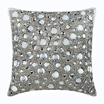 Amazoncom Handmade Silver Throw Pillow Covers Rhinestones And
