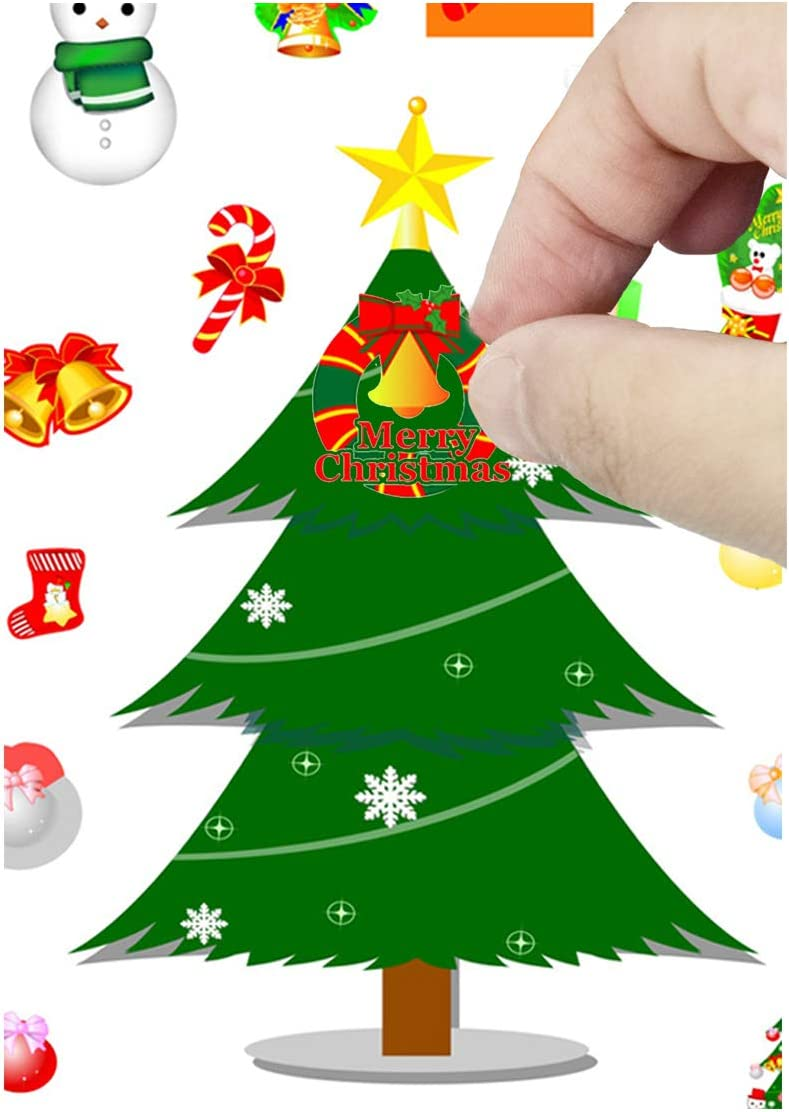 12 Large Sheets Christmas Trees Decoration Kit Yaromo Christmas Decorating Stickers Gifts and Crafts for Kids- 4.5 x 7 30 Total Face Stickers Cute Halloween Decor Idea Treats