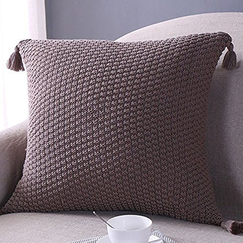 Sanifer Knit Pillow Cover Tassel Decorative Pillow Case Cushion Cover Pillow Case for Sofa Couch (Cover Only, Coffee) (Pillows Decorative Tassel)