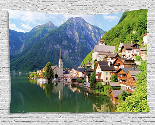 Ambesonne Nature Tapestry, Idyllic Alps Village Small Town by Majestic Mountain Lake European Pastoral Scenery, Wall Hanging for Bedroom Living Room Dorm, 60 W X 40 L Inches, Multicolor - Tapestry Hanging Pastoral Wall