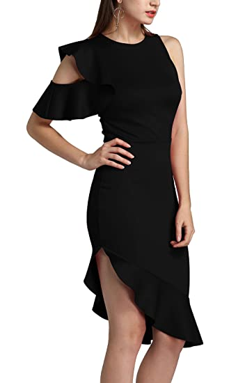Twippo Vestido Ajustado de Fiesta Vestidos Noche Mujer Negro S