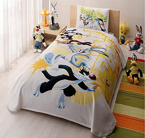 TAC 3-Piece Bedspread Coverlet (Pique) Set, 100% Cotton, with Licensed Characters (Looney Tunes Fantastic)