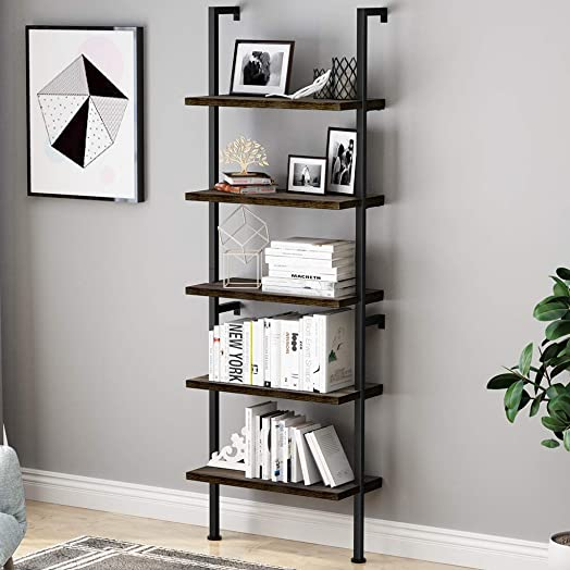 LANGRIA Industrial 5-Tier Ladder Shelf Bookcase, Wall Mounted Wood Shelves Bookshelf with Metal Frame, Open Storage Rack Shelving Organization Retro Wall Decor Furniture for Home and Office