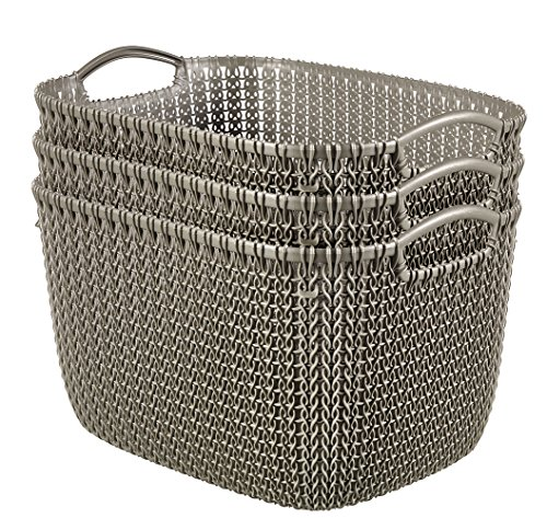 Keter 232062 Knit Rectangular Large Basket Set, Harvest - Basket Knit