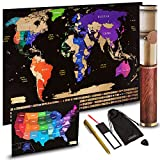 "Scratch off Map World Travel Poster With US States Outlined Country Flags 30"" x 17'' 
