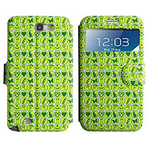 AADes Scratchproof PU Leather Flip Stand Case Samsung Galaxy Note 2 II ( Green Assorted Pattern )
