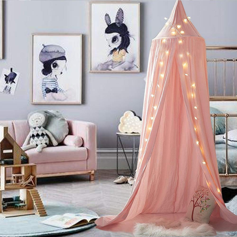 M&M Mymoon Girls Bed Canopy Reading Nook Tent Dome Mosquito Net Hanging Decoration Indoor Game House for Baby Kids (Pink)