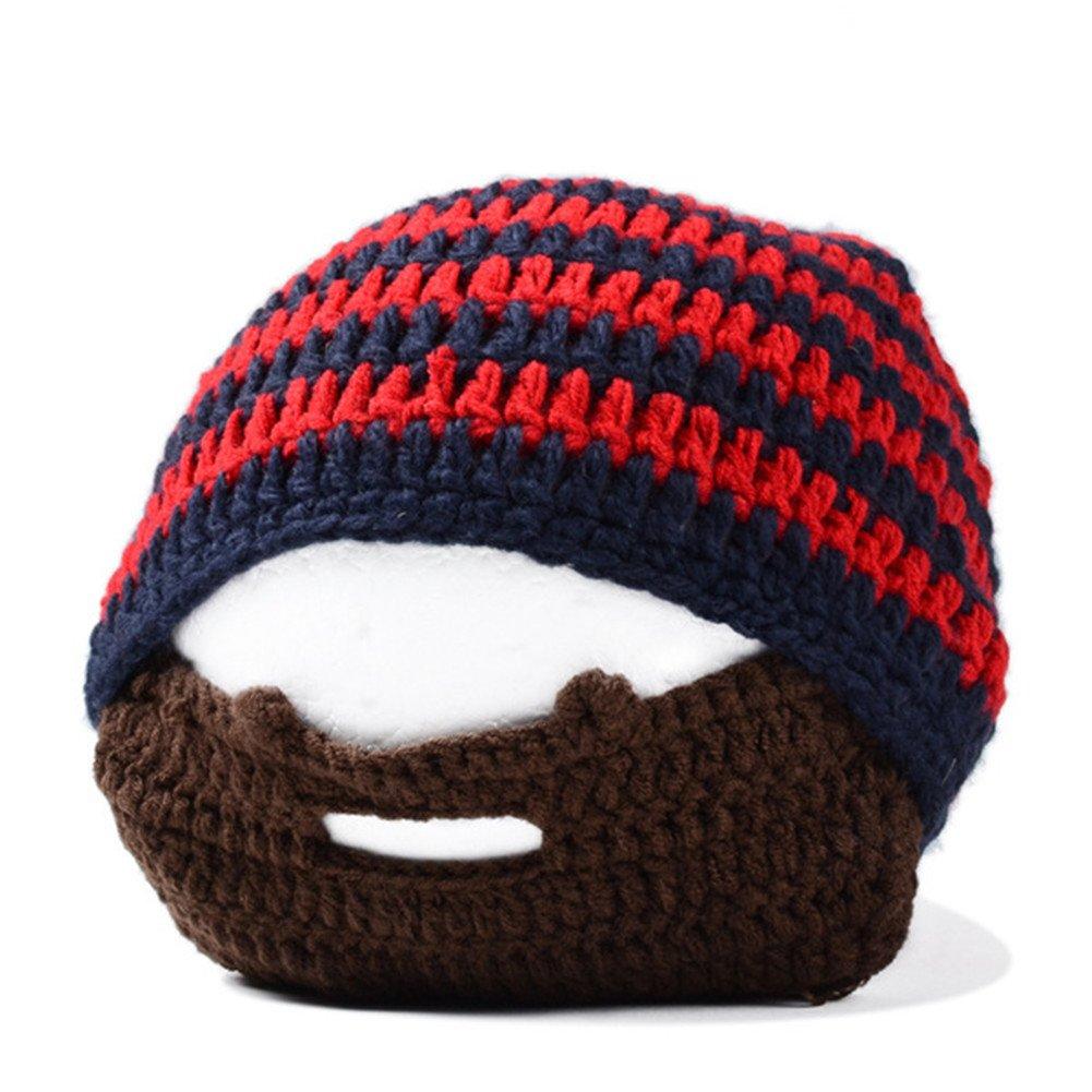 Bess Bridal Unisex Windproof Warm Knit Beanie Beard Hat Cap BB-308500-Black