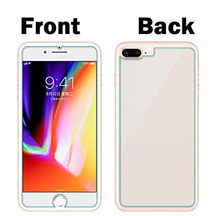 los angeles 55fa2 2bafb [2in1 Pack] iPhone 8 Plus Screen Protector, Cochanvie Anti-Scratch 2in1  Front and Back Tempered Glass Screen Protectors for Apple iPhone 7 Plus / 8  ...