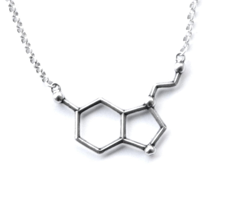 208704374761d Sterling Silver Serotonin Molecule Cast Necklace