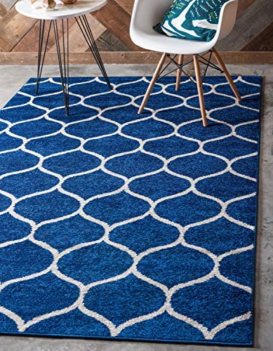 Unique Loom Trellis Frieze Collection Lattice Moroccan Geometric Modern Navy Blue Area Rug 8 0 x 11 0