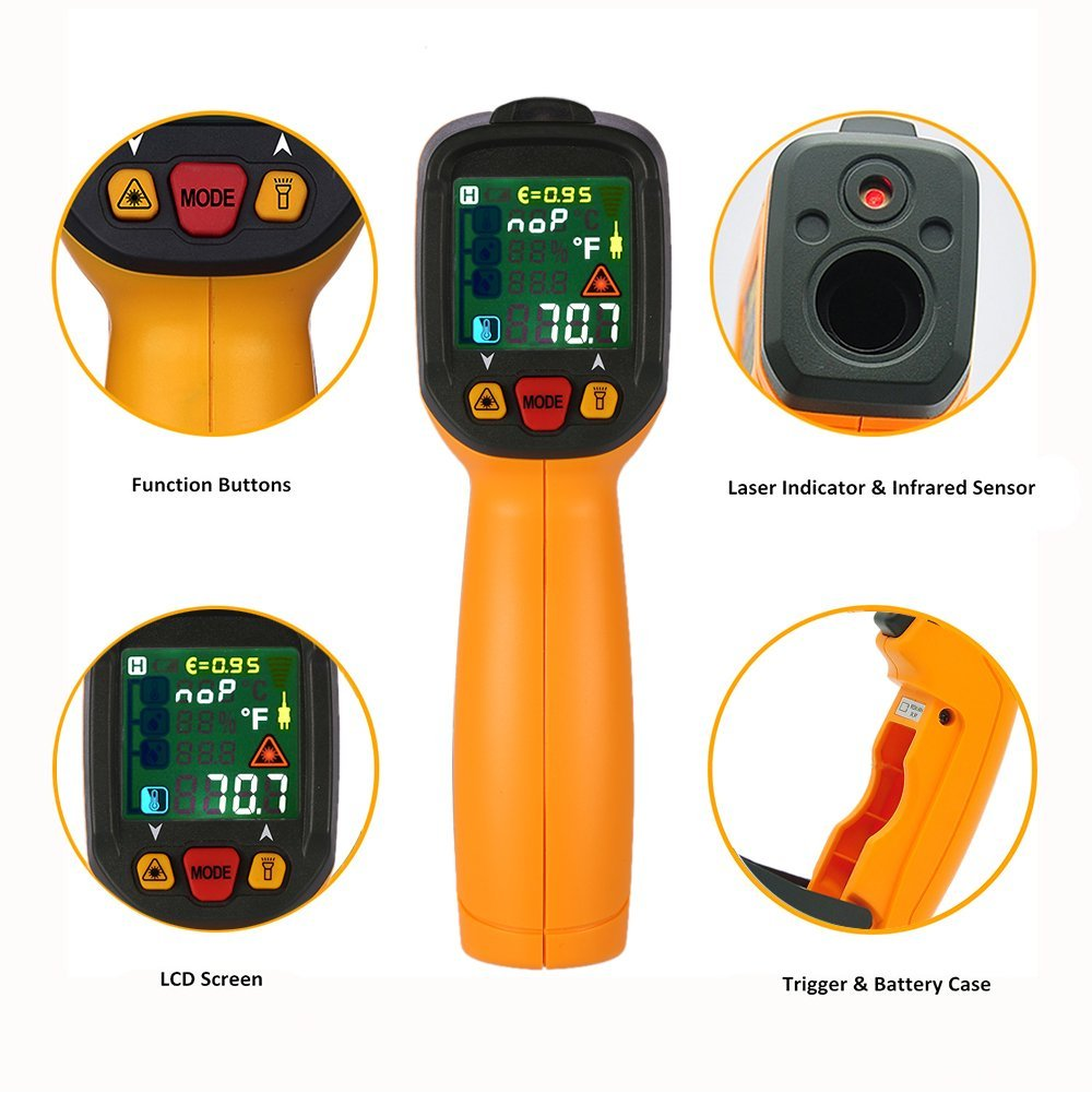 LCD Display Digital Thermometer IR Laser Infrared Thermometer Hygrometer Dew Point IRT K Type Ambient UV Light Pyrometer PM6530D