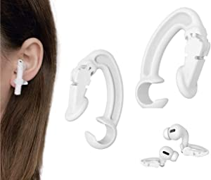 KKPOT 2 Pair Earpods Anti-Lost Ear Hook - Anti-Drop Sports Ear Clip,Wireless Earphones Grip Accessories Tips Compatible with Apple Airpods 1/2/Pro Or Earpods Headphones/Earphones/Earbuds (White)