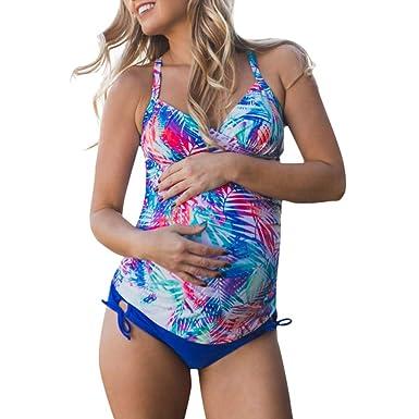 61de85313 QinMMROPA Tankinis Maternidad Traje de baño Premamá para Mujer Deportes  Bañador Embarazada Bikini  Amazon.es  Ropa y accesorios