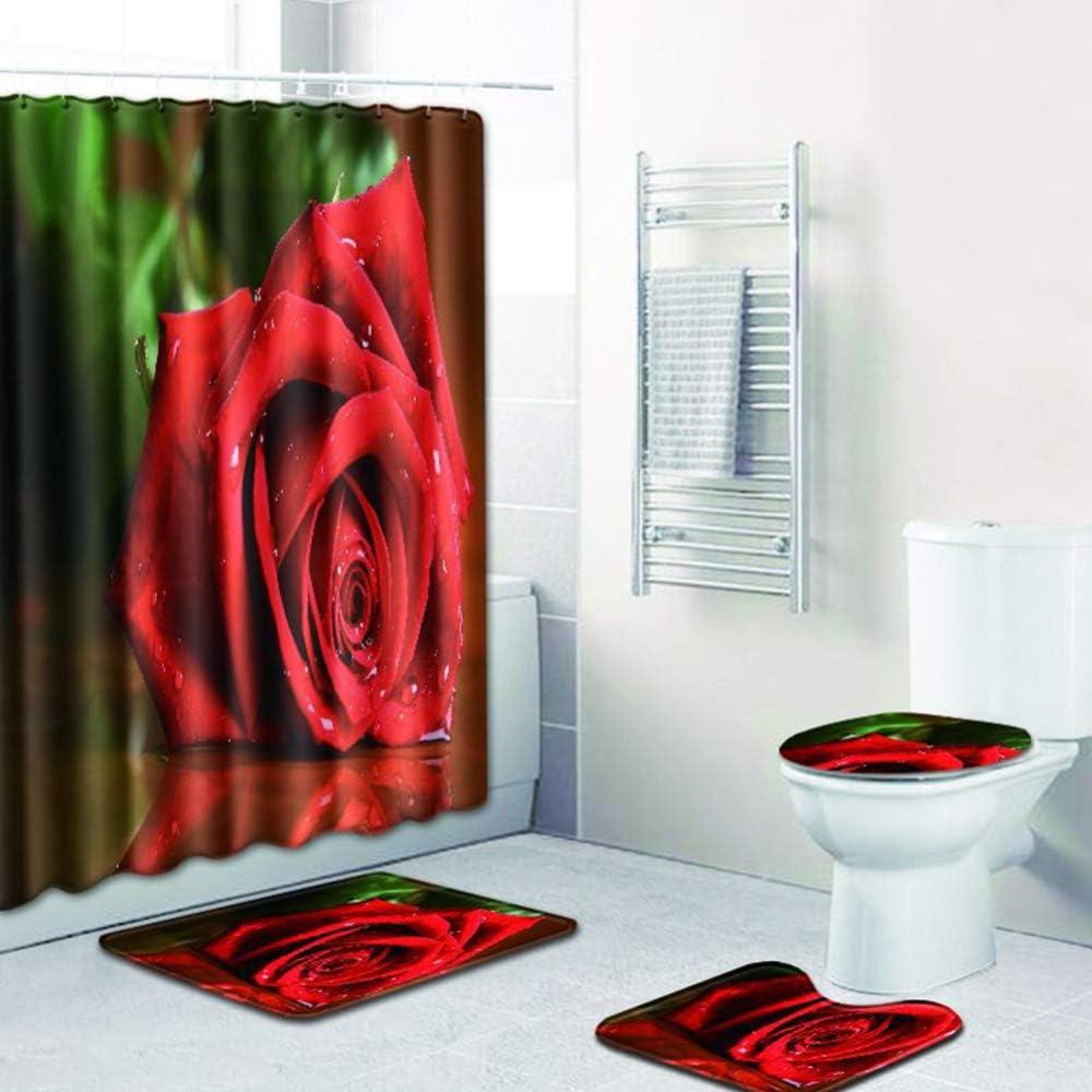 Alfombra de Inodoro Alfombrilla tama/ño /único DLINF Elegante Cortina de Ducha con Estampado de Rosas Juego de Cuatro Piezas W180708-d050 Juego de Funda