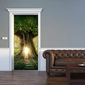 "MISSSIXTY Tree House 30"" x 78.7"" Wall Mural Door Wallpaper Stickers for Home Decoration Vinyl Removable 3D Decals"