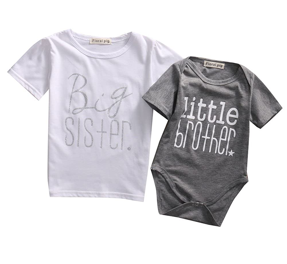 Baby Boys Brother Letter Print Romper Kids Sister T-shirt Matching Clothes Outfits