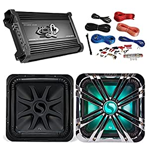 Car Subwoofer And Amp Combo: Kicker 44L7S122 2-Ohm 750W 12-Inch Subwoofer + 12 Chrome Grill With LED Lighting + Lanzar 2000W Mono Block Stereo Amplifier + 8 Gauge Marine Amplifier Installation Kit