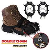 EnergeticSky Upgraded Version Of Walk Traction Ice Cleat Spikes Crampons,19Teeth,True Stainless Steel Spikes And Durable Silicone,/Boots For Hiking On Ice&Snow Ground,Mountian.-By (Black01, X-Large)