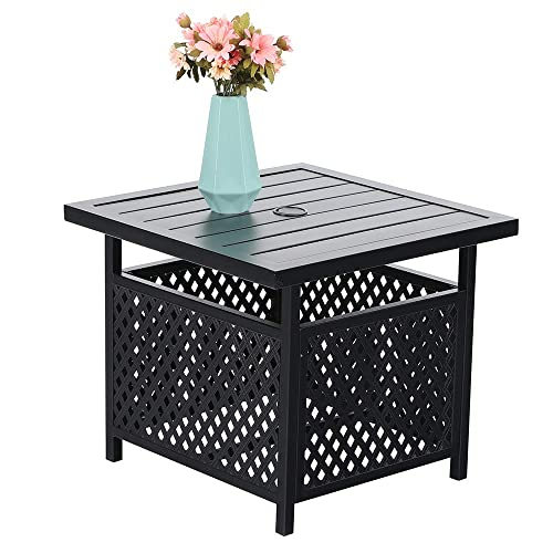 PHI VILLA 22 x 22 Outdoor Umbrella Side Table Stand Patio Bistro Table with Umbrella Hole