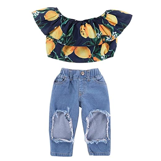 6e4a6fcc96a968 WARMSHOP Stylish Infant Girls Clothing Set Ruffle Lemon Printed Off  Shoulder Tank Tops Ripped Denim Pant
