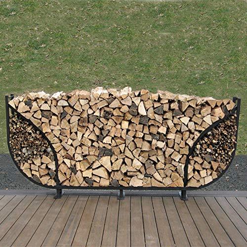 - Shelter It 24118 Curved Double Leaf Kindling Kit Log Rack, 8', Black