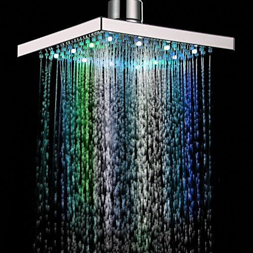 Agile-shop 8 inch Square 7 Colors Automatic Changing LED Shower Head Bathroom Showerheads Sprinkler