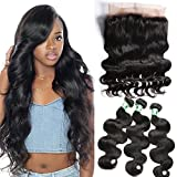 Msbeauty Brazilian Hair 3 Bundles with 360 Lace Frontal Closure Body Wave Human Hair Bundles(16'' closure with 16 18 20)Pre-plucked Natural Black Color
