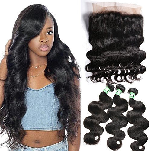 Msbeauty 360 Lace Band Frontal Closure with Bundles Brazilian Body Wave Virgin Human Hair (16'' closure with 16 18 18)Pre-plucked Natural Black Color by msbeauty