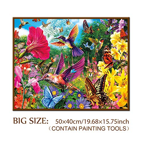DIY 5D Diamond Painting Kit, ONE Phoenix Full Round Drill Hummingbird Flowers Butterfly Large Paintings Kits, Clearance Rhinestone Diamond Paintings Home Wall Decor, Contain Tools (50x40CM/55x45CM)