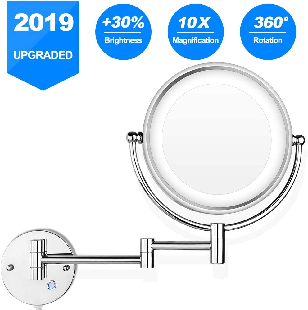 Pansonite LED Wall Mount Makeup Mirror with 10x Magnification, 8.5 Double Sided 360 Swivel Vanity Mirror with 13.7 Extension and Adjustable Light for Bathroom Bedroom, Chrome Finished