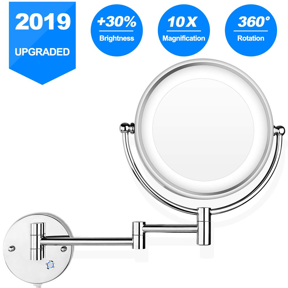 Pansonite LED Wall Mount Makeup Mirror with 10x Magnification, 8.5'' Double Sided 360° Swivel Vanity Mirror with 13.7'' Extension and Adjustable Light for Bathroom & Bedroom, Chrome Finished by Pansonite