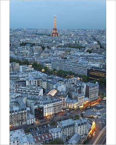 Photographic Print of City and Eiffel Tower, viewed over rooftops, Paris, France, Europe