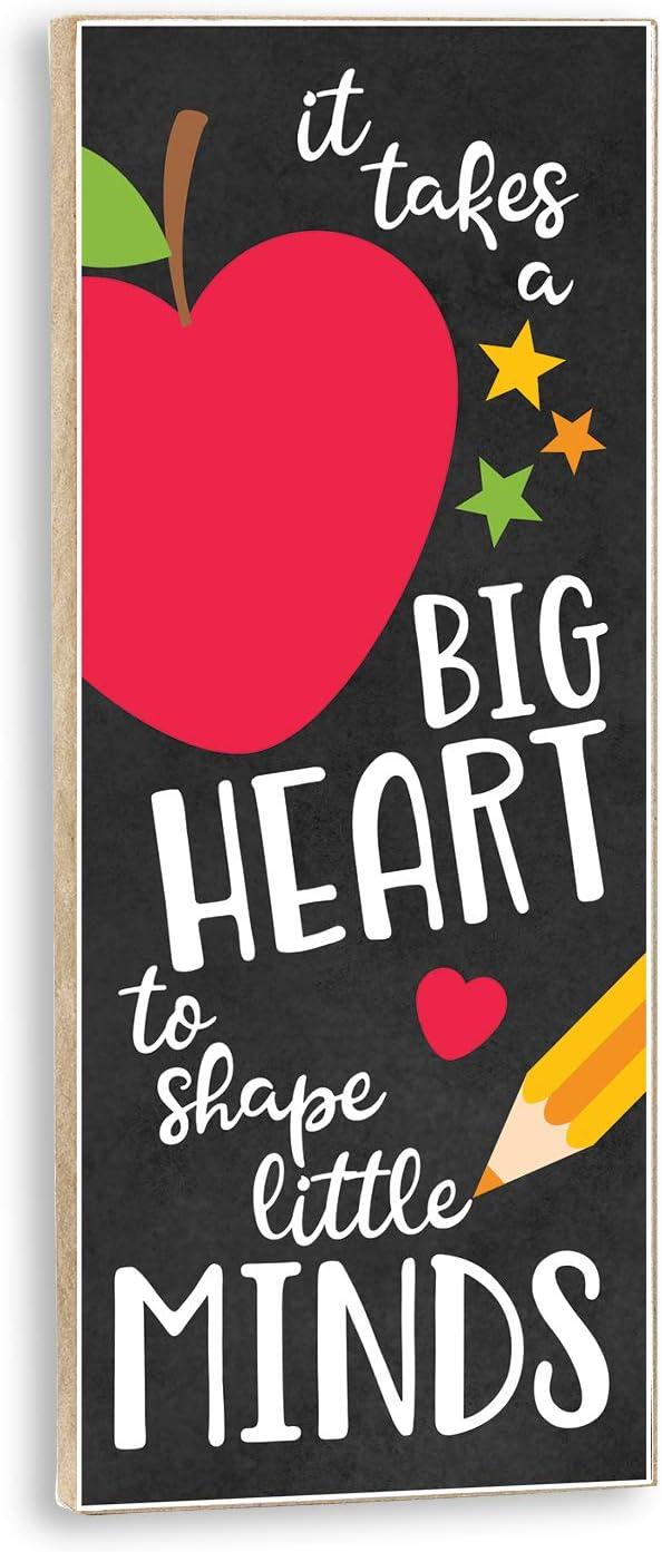 Plum Hill Teacher Sign It Takes A Big Heart to Shape Little Minds Classroom Gift