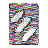M-Aimee Magic Sequin Daily Journal Notebook for Kids Reversible Sequin Notebooks and Journals Best Daily Calendar and Gratitude Journal Office Notebook (Rainbow/Sliver)