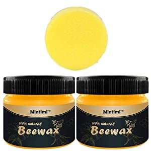 2 PACK Wood Seasoning Beewax, Multipurpose Natural Wood Wax Traditional Beeswax Polish for Furniture, Floor, Tables, Cabinets