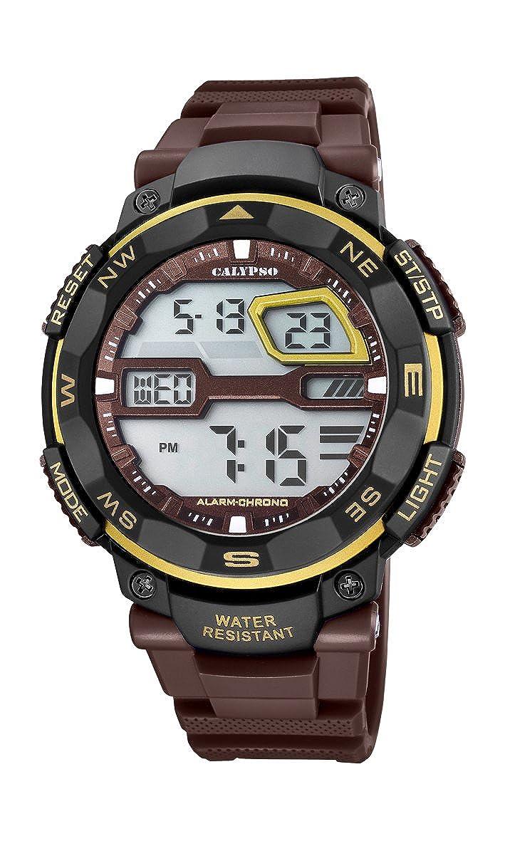 Reloj Digital Calypso K5672/8 para Hombre con Pantalla LCD y Correa de plástico Color marrón